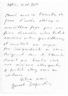 Article Remerciement Gérard Depardieu image